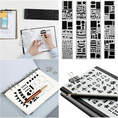 12/20Pcs For Bullet Journal Stencil Set Plastic Planner DIY Draw Template Diary