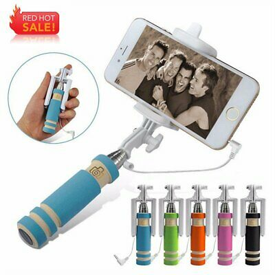 Extendable Handheld Wired Selfie Stick Monopod For iPhone Samsung HTC Cell Phone