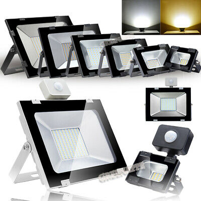 LED Security PIR Floodlight Sensor 10/30/50/100/200/300/500W Light Warm Cool UK