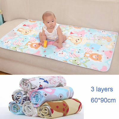 3 Layers Baby Changing Pads Covers Diapering Separate Pee Mat Reusable Washable