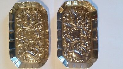 1891 Victorian Antique Pair of William Comyns Silver pin dishes