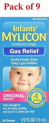 MYLICON Infants' Gas Relief Original Drops 50 Doses 0.5 Ounce (Pack of 9)