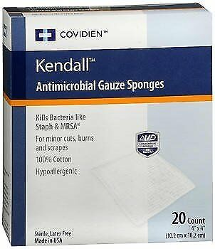 Kendall Antimicrobial Gauze Sponges 4x4 - 20 ct, Pack of 5