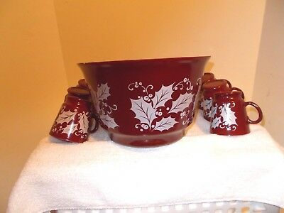 7pc Vintage Anchor Hocking CHRISTMAS CRANBERRY Set Punch Bowl w/6 Cups!