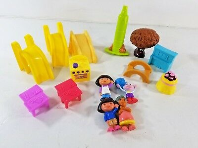 Dora The Explorer Dollhouse Furniture & Figures Lot Piano Slides workbench Tree