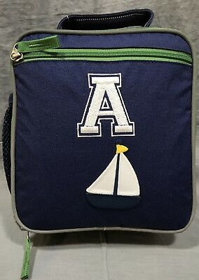 "fa955f90bd64a7 Pottery Barn Kids Navy/Green Fairfax Classic Lunch Bag ""A"" Mono+Sailboat"