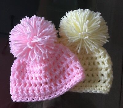 TWO Hand Knitted Crochet 0-3 Months Baby Pom Pom Hats - Pink Lemon