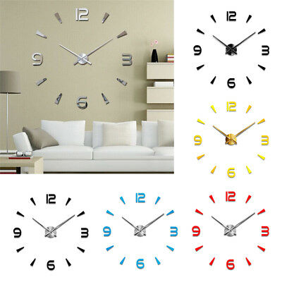 Modern Large 3d Wall Clock Numbers Letters Diy Stickers Clock Office Home Decors