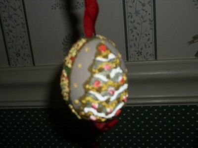 Peter Priess Austrian Christmas Egg Shell Ornament-Cream Egg / Tree Motif