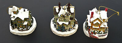 The Bradford Editions Thomas Kinkade's Winter Memories Illuminated Ornaments(Set