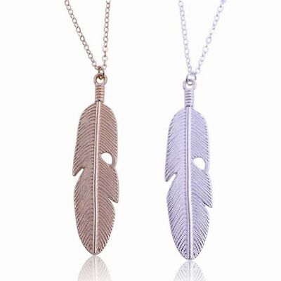 Women Vintage Jewelry Feather Pendant Long Chain Necklace Sweater Statement New