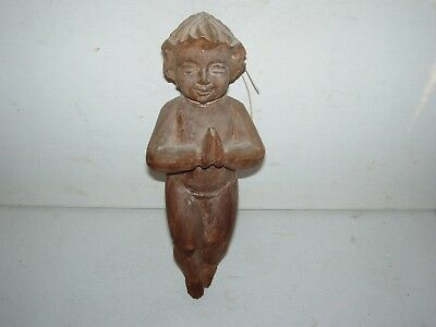 Vintage Antique Hand Carved Wood Wall Angel Putti Cherub from Old Estate
