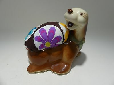 Vintage Cutie Brown Seal Sea Otter Planter Pincushion Sewing Repurposed