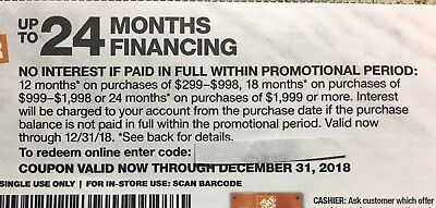 Home Depot Coupon No Interest Financing if Paid in 24 Mths w/ HD Card Exp. 12/31