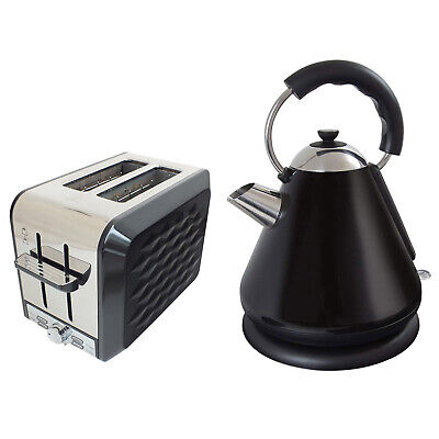 Black 1.7 Litre Cordless 2200W Pyramid Jug Kettle & 900W 2 Slice Toaster
