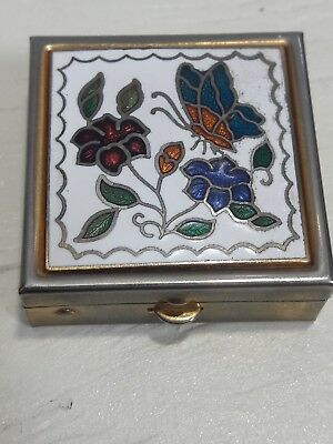 Vintage Micro Floral Butterfly Embossed Goldtone Pill Trinket Box Plastic insert