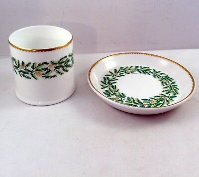 Crown Staffordshire Evergreen Pin Dish Toothpick Holder Designed by Tiffany Gold