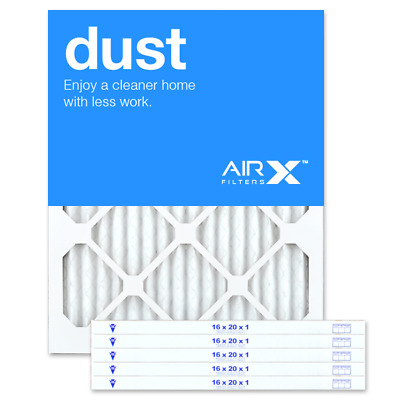 AIRx Filters Dust 16x20x1 Air Filter Replacement Pleated MERV 8, 6-Pk