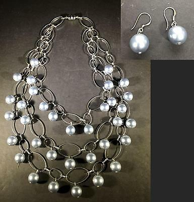 Z) Silver Tone Faux Pearl Silver Necklace 3 Strand Pierced Matching Earrings