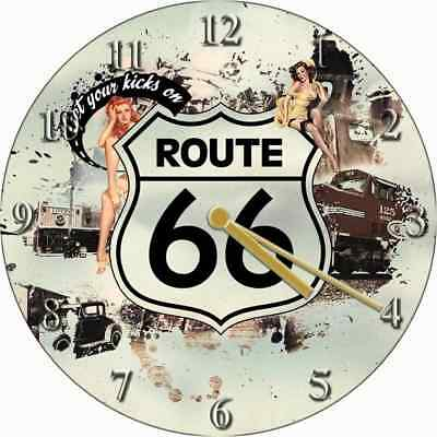 NOVELTY WALL CLOCK - American Diner Route 66 Design (2) - Retro Wall Clock