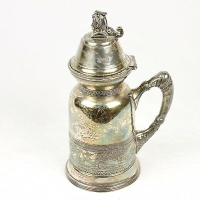 "Antique Pelton Bros Silver Plate Syrup Pitcher Lid Ornate Vintage 1800s 7"" Maple"