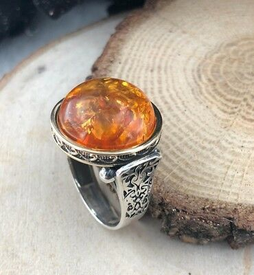 AAA Quality 925 Sterling Silver Handcraft Jewelry Amber Men's Ring