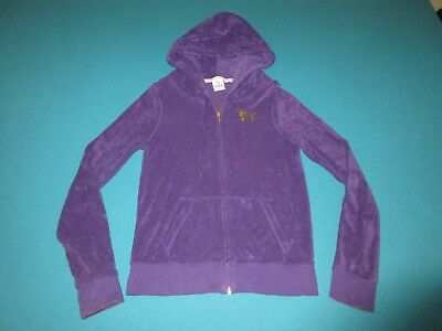 77cf306f86 VICTORIA SECRET PINK Womens Purple Terry Cloth Full Zip Hoodie Size Small S