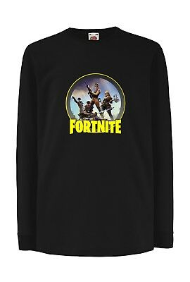 T- Shirt Maglietta Manica Lunga Fortnite Bambino Uomo Donna - Fruit Of The Loom