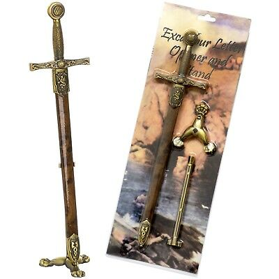 Excalibur Sword Letter Opener & Scabbard + Stand - Quality Steel By Denix A208