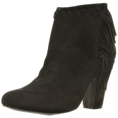 f534d8657 MIA $109 Selina BLACK SUEDE Fringed ANKLE BOOTS Heel Shoes Booties SZ 8 NWT