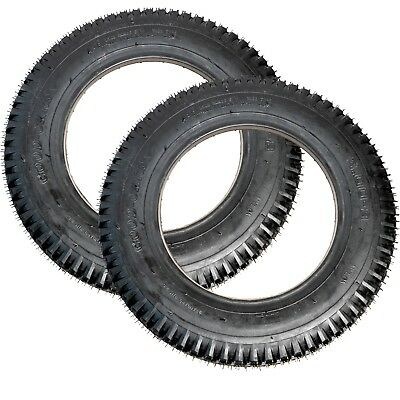 Pair 3.00-8 Black Solid Block Tread Mobility Scooter Tyre 300 x 8