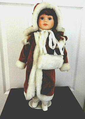 "Collectible 19"" Porcelain Doll Red Velvet Long Coat/White Faux Fur Hat & Muff"
