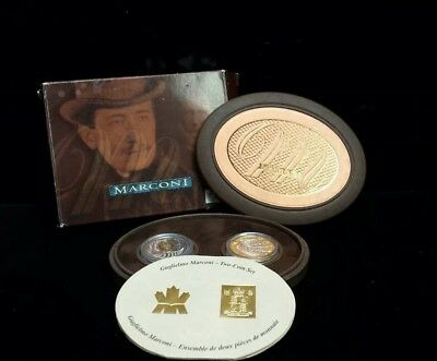 2001 - Canada $5 / United Kingdom 2£ - Marconi 2 Coin Sterling Silver Proof Set
