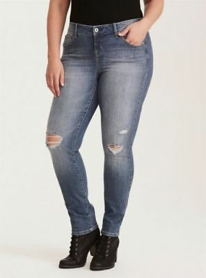8dd533455f8 NWoT Torrid Mid-Rise Stretch Skinny in Distressed Destroyed Light Wash Jeans  24
