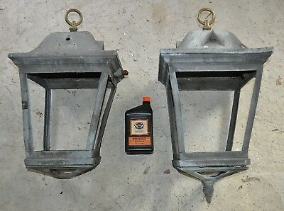 MASSIVE PAIR  MATCHED ANTIQUE BRONZE LAMPS WALL MOUNTED / RESTORATION or PARTS