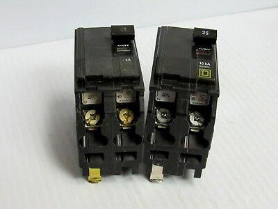 Lot Of 2 Square D Circuit Breaker Qo225 2 Pole 2P 25 Amp A 25A - Used
