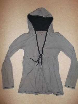 women's navy blue/white striped hooded long top shirt tunic drawstring waist