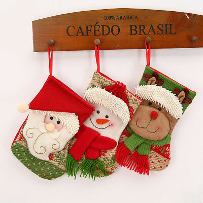 Christmas Tree Hanging Decor Stockings Sock Santa Claus Candy Bag Xmas Gift HK e