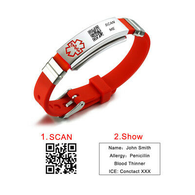 Free Engraving QR CODE Medical Alert ID Women Kids Bracelet Silicone Wristband