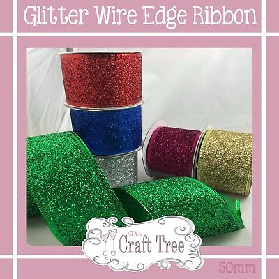 Colourful Glitter Wire Edged Ribbon--Comes in 50mm Width Great for Christmas