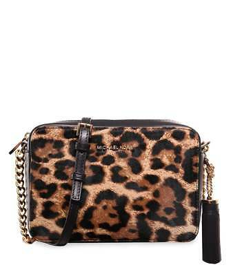 ee17e26e3a38 Michael Kors Ginny Leopard Calf Hair Butterscotch Leather Cross Body Camera  Bag