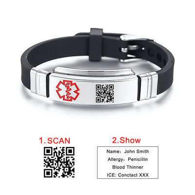 Black Custome QR CODE Medical Alert ID Women Men KID Bracelet Silicone Wristband