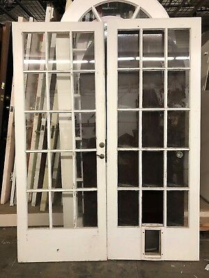 Old French Doors 79 1/2 X 30 1/2 Ea 61 Inch Total Open 15 Light