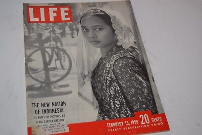 Vintage February 13, 1950 Life Magazine - New Nation of Indonesia on Cover
