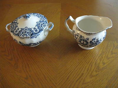 SUDBURY SQUARE BLUE by Staffordshire Ironstone Covered Sugar Bowl & Creamer