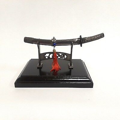 "Miniature 6"" Samurai Katana Sword Knife Letter Opener with Display Stand - NIB"