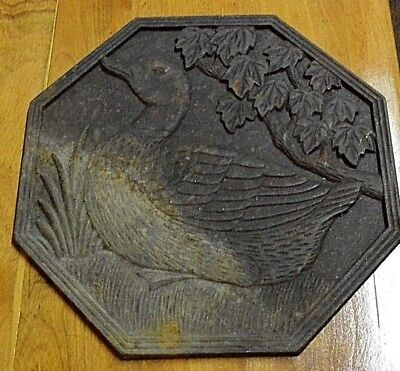 """Large 11"""" Cast Iron Antique 8 Sided Octagonal Scene of Duck on the Water"""