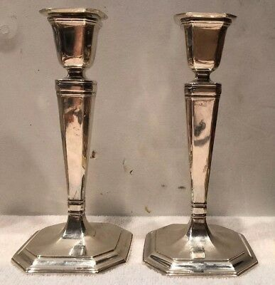 Antique 1914 Tiffany & Co Sterling Silver Weighted Candlesticks