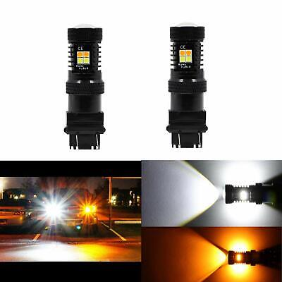 2X 3157 3457 4057 4157NA LED Switchback White DRL Yellow Turn Signal Light Bulbs