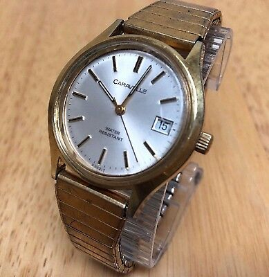 Vintage Caravelle Mens Gold Tone Hand-Winding Mechanical Watch Hours~Date~Runs